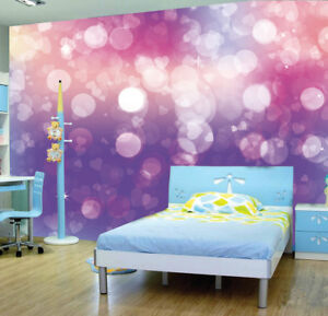 Details About Pink Purple Heart Stars Patel Colour Wallpaper Photo Mural Kid Bedroom Home Deco