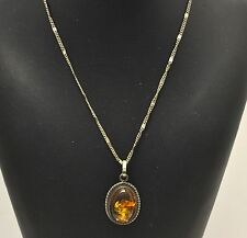 Vintage Navajo Old pawn native American Sterling Silver & Amber Pendant Necklace