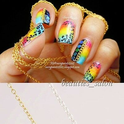 100cm 3D Nail Art Decoration Silver Color Punk Style Metal Chain Line Round Ring