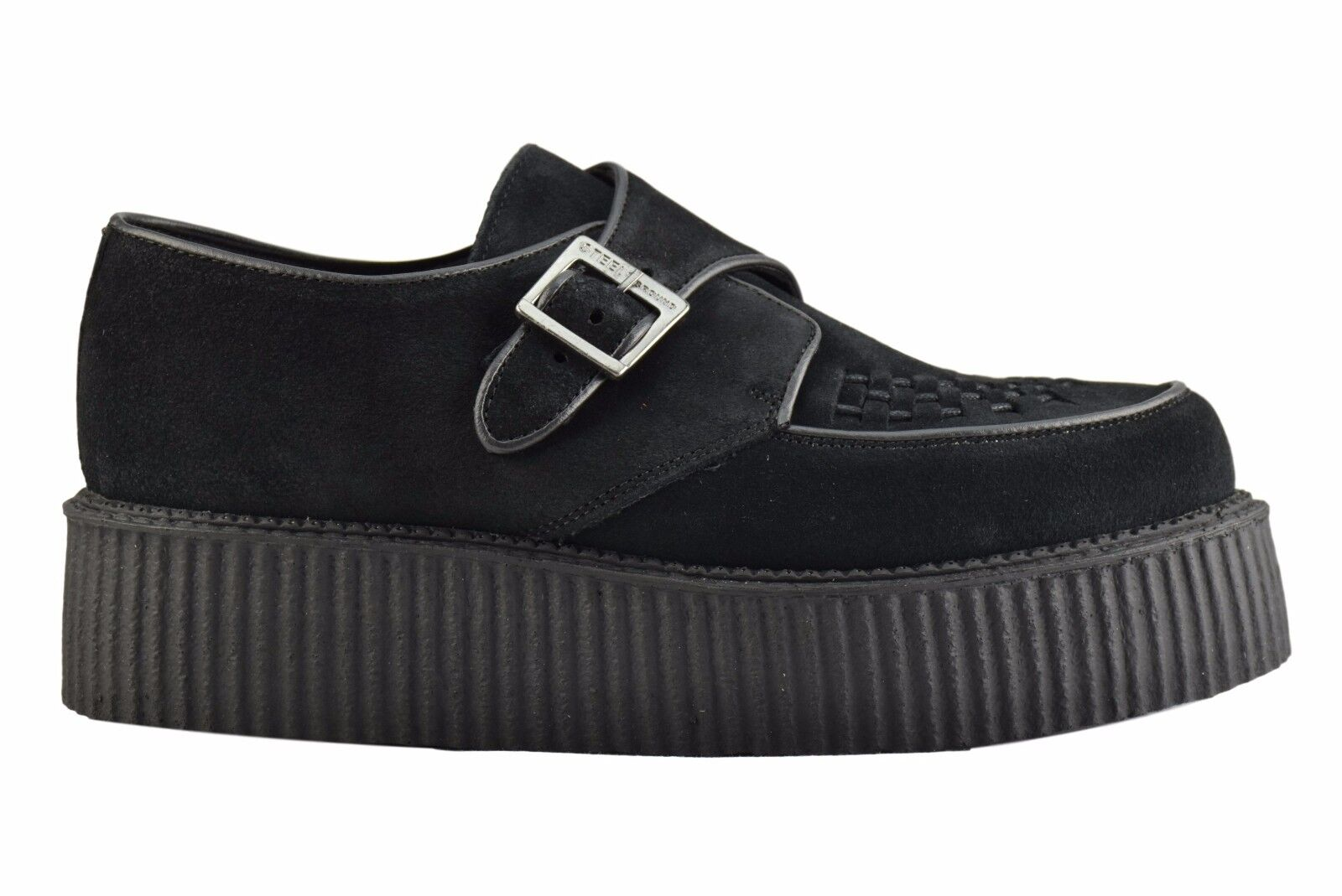 Steel Ground Schuhes schwarz Suede Creepers High Sole Buckle Casual Rock Sc301Z4