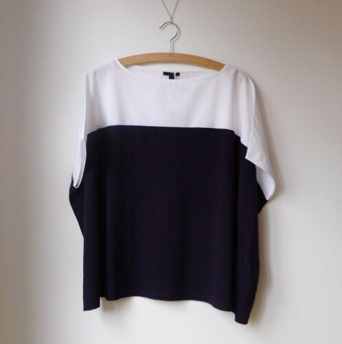 COS Blue White Box Square Cotton Oversized Kin Asymmetric Top Blouse XS 10 NWT