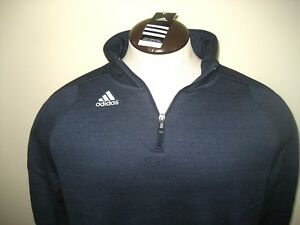 c6b99ee7fa2d Adidas Mens Climawarm Ultimate 1 4 zip Pullover Fleece Jacket Blue ...