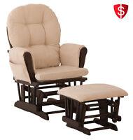 Nursery Glider Ottoman Baby Set Rocking Chair Rocking Wood Furniture Espresso