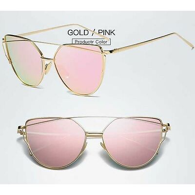 Fashion Vintage Mirrored Oversized Sunglasses Women's Glasses Metal Flat Lens