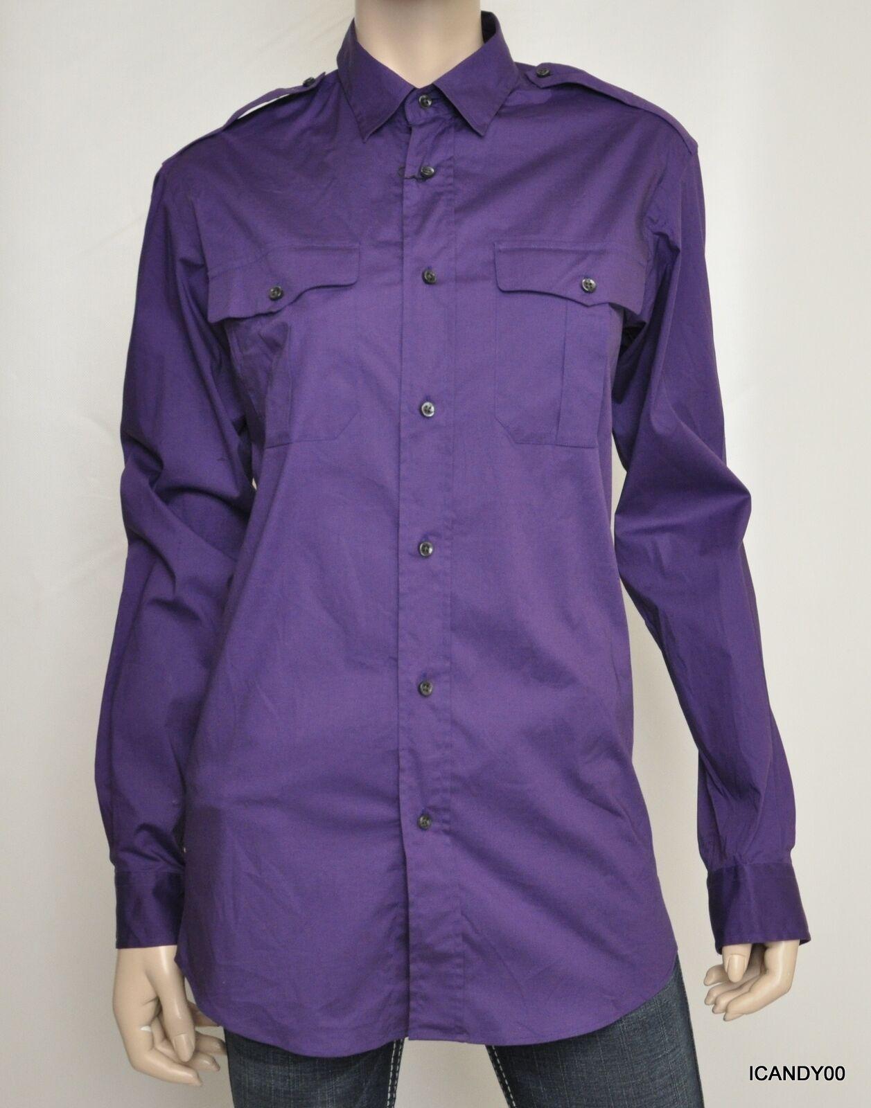 Nwt  RALPH LAUREN schwarz Label  Button Down Shirt Blouse lila S