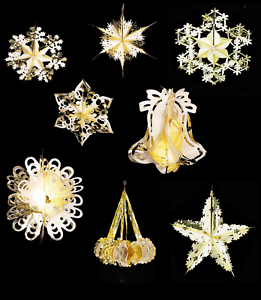 6 x Christmas Gold and Ivory Foil Hanging Garland Decoration 2.7m