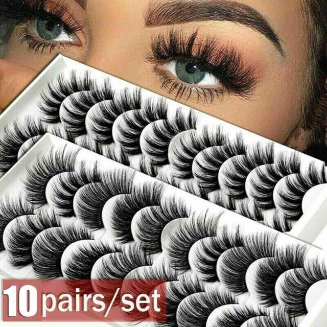 SKONHED 10 Pairs Fashion 3D Mink Hair False Eyelashes Cross Wispy Fluffy Lashes