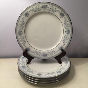 Vintage Set of 5 Noritake BLUE HILL Porcelain Salad~Dessert Plates Platinum Trim