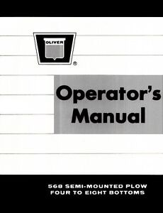 Oliver White Tractor 475 Drawn Plow Operator/'s Manual