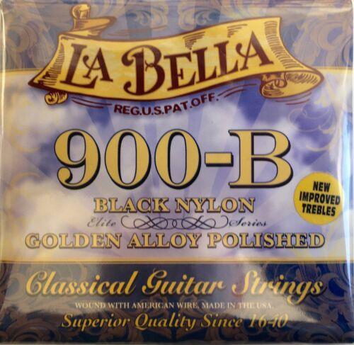 Saiten f La Bella 900-B Black Nylon geschliffene Bässe |9b Gitarre Classic