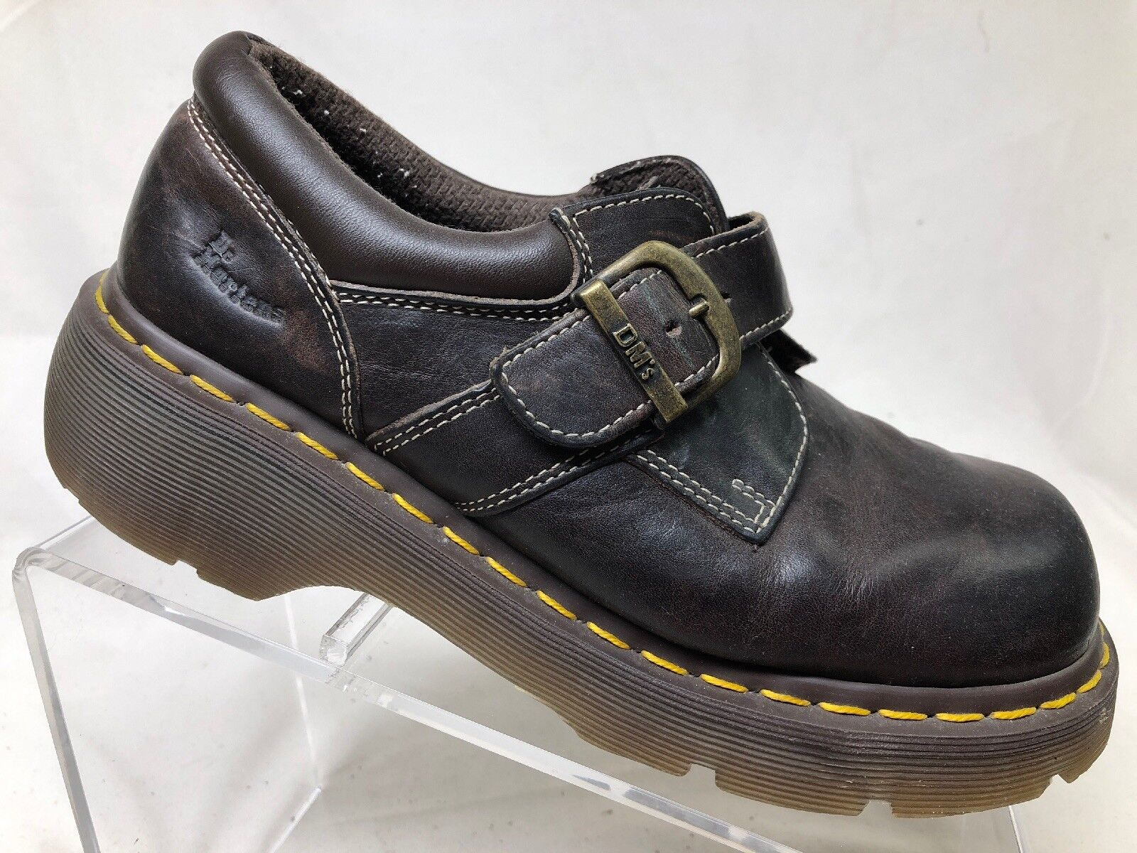 Dr. Martens M7 W8 euro 39 Zapatos De Trabajo Suela De Goma Marrón De Cuero AW004 F8