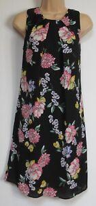 New-Florence-amp-Fred-Tesco-Black-Floral-Print-Shift-Summer-Dress-6-20