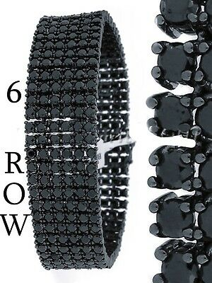 Men New 14k Black Gold Finish 6 Row Black Lab Diamond Simulate Bracelet 8.5 Inch