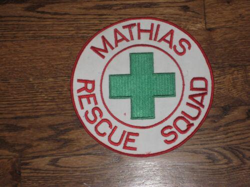 """mathias,west  virginia rescue squad,patch,60/'s nos 8/""""x8/""""rescue squad,"""