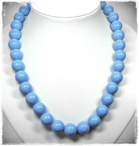 NEU 41,5cm+5,5cm HALSKETTE 14mm PERLEN in blau PERLENKETTE COLLIER