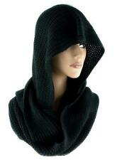 Black Gothic Knit Hooded Infinity Scarf Lady Death Alternative Witchy Punk Metal