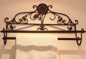 Porte-Serviettes-Decoration-Salle-De-Bains-Retro-Vintage-Shabby-Chic-Marron