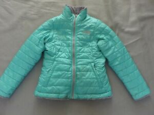 The North Face Size S 7/8 Gray/Green Reversible Swirl Insulated Jacket Girl Kid