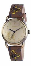 KAHUNA WOMEN'S GOLD ANTIQUE STYLE BROWN FLOWER STRAP WATCH - KLS0248L - RRP:£45