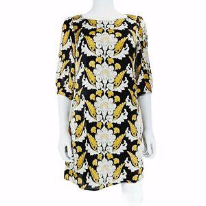 Be Beau UK 12 Dress Black Beige Yellow Baroque Pattern 3/4 Sleeve