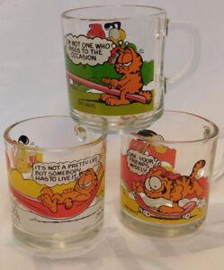 Vintage 1978 McDonald/'s Garfield Odie Glass Coffee Mugs Cups Jim Davis Set of 3