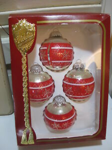 Details About Box Of 4 Rauch Victoria Collection Red Silver Vintage Glass Christmas Ornaments