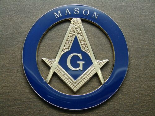 FREEMASON MASONIC CAR EMBLEM HEAVY DUTY ALLOY GOLDEN AND DARK BLUE MASON EMBLEM