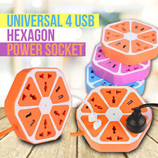 Universal 4 USB Hexagon Power Extension Socket Plug Electrical Outlet(Blue)
