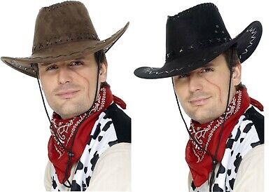 Marchio Popolare Men's In Pelle Scamosciata Nero & Brown Cowboy Costume Cappelli E Bandana Rossa Addio Al Celibato Tema Divertente-mostra Il Titolo Originale