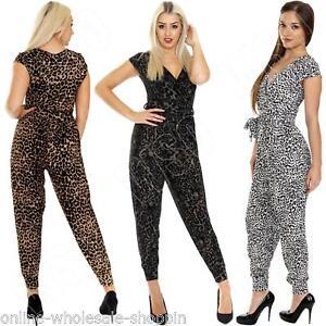 6225ca19f5 New Ladies Womens Animal Leopard Aztec Print Jumpsuit Playsuit Size ...
