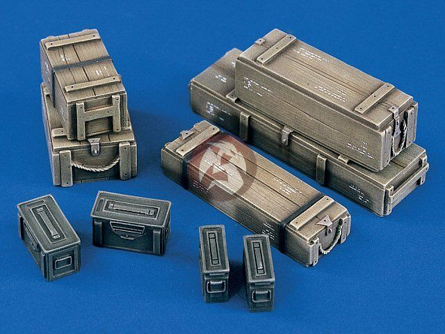 Verlinden 120mm (1 16) US Ammo Crates and Cases (9 pieces) [Resin Diorama] 951