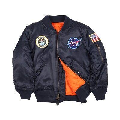 88186f9e6 Alpha Industries Kids MA-1 Nasa Flight Jacket Replica Blue YJM21093C1 | eBay