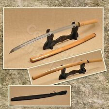 Hand Forged Musashi Natural Wood Shirasaya Katana Sword Sharp Blade + Stand &Bag