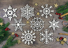 Set di 8x di Natale in Legno Fiocco Di Neve Ornamenti/Decorazione in legno/Regalo