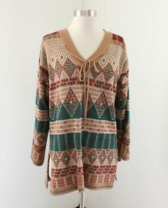 Vtg 70s Catalina Tunic Sweater Size M Wool Tan Green Red Geometric Print Boho