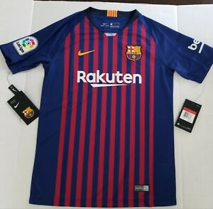 buy online 3158c e086d Details about Nike Youth 2018/19 Barcelona Stadium Home Stadium Jersey  (Blue/Gold) 894458 456*