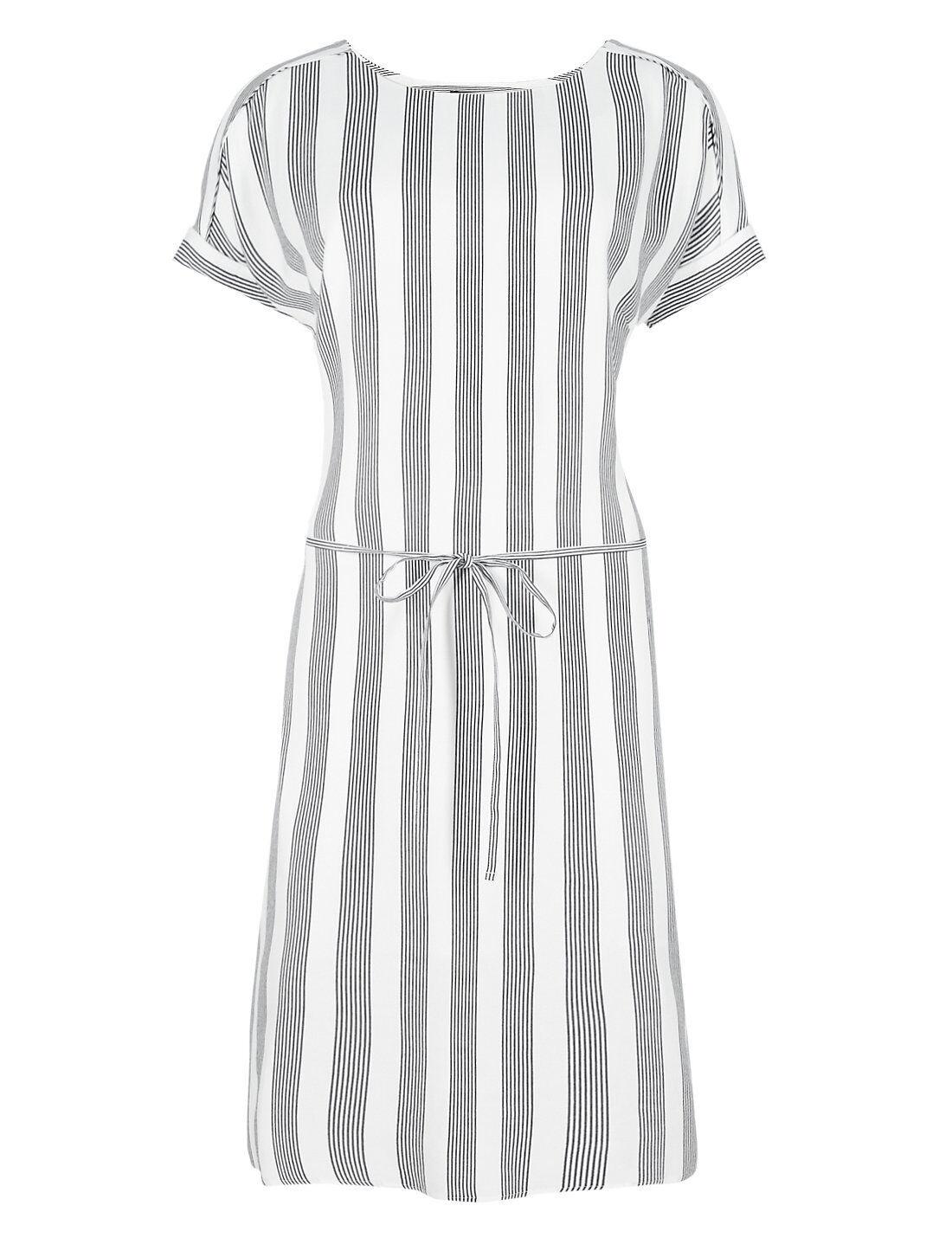 M & S AUTOGRAPH LADIES blueE & WHITE STRIPED WOVEN SHIFT DRESS