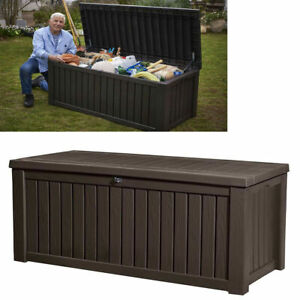 Details about Extra Large Outdoor Storage Box Heavy Duty Swimming Pool  Bench Deck 150 Gallon
