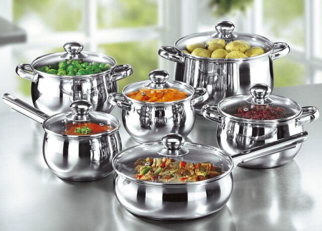 12-teiliges Gourmet Edelstahl Kochtopfset Kochtöpfe Kochtopf Pfanne Töpfe Set