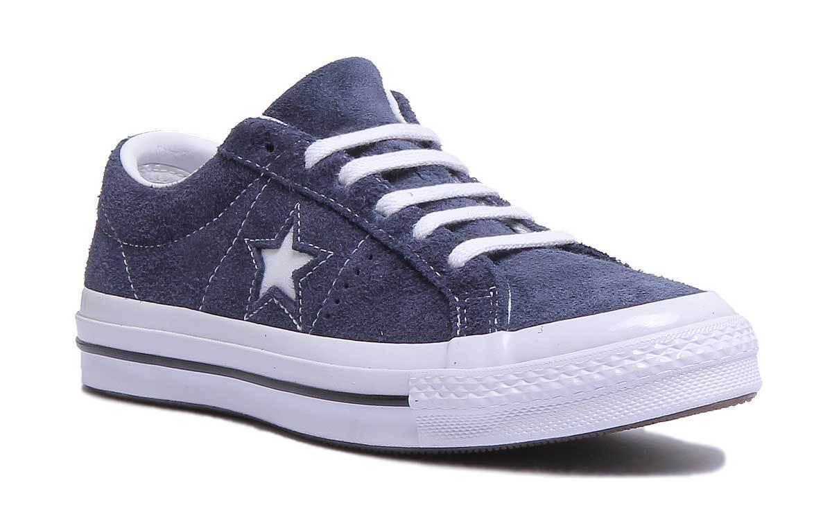 Converse One Star Premium de de de Gamuza Mujeres Cuero De Gamuza Azul Marino blancoo Entrenadores 3 - 6.5  venta con descuento