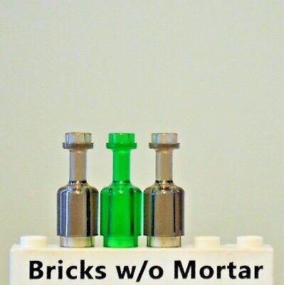 New Genuine LEGO Bottles One Trans-Black + One Trans-Green Wine Rum Bottle