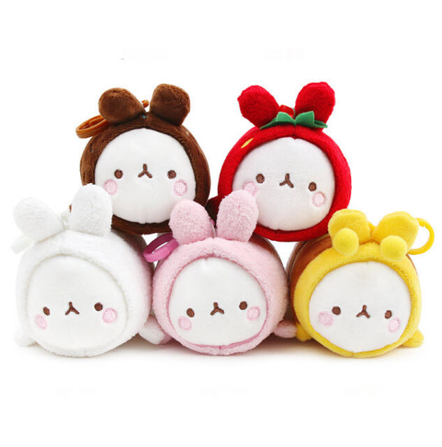 "Molang 5"" Lieing Cute Rabbit Bunny Plush Stuffed Doll Toy Key Ring Holder Bag"