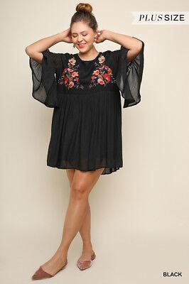 UMGEE Floral Embroidered Dress Black Velvet Plus Size XL 1XL 2XL