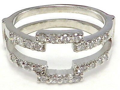 14k white gold Diamond Ring Wrap Guard Enhancer Insert for Princess Solitaire