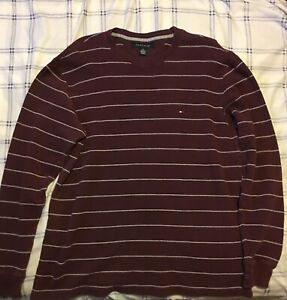 Tommy-Hilfiger-Men-039-s-Burgundy-With-White-Stripes-Crewneck-Sweater-Size-Large