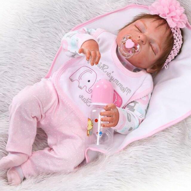 Handmade Reborn Dolls Full Body Vinyl Silicone Baby Girl Lifelike Newborn Gift