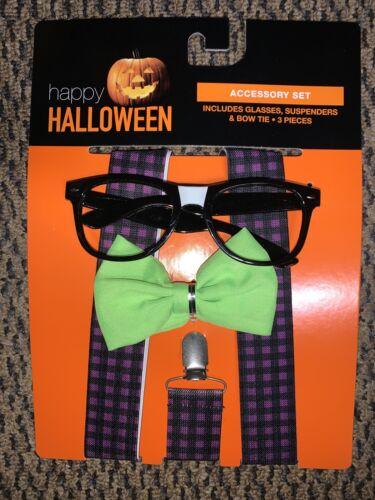 Details about  /Happy Halloween Nerd Costume Set Suspenders New