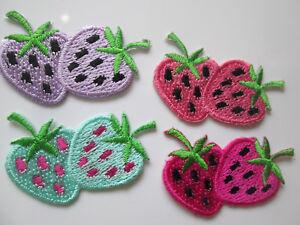 8 Applikation Aufnäher Bügelbilder Erdbeer  Magenta Blau  Borte Nähen 4cmx2cm