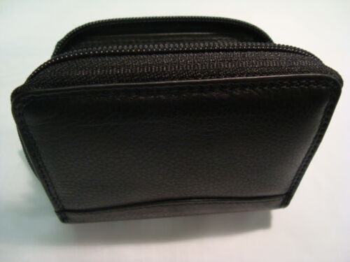 Luxury Soft leather Zip Around Credit Card Holder Concertina Fan Style Black