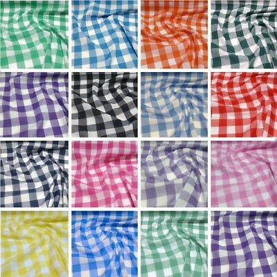"""1//4/"""" Gingham Check Poly Cotton Fabric 112cm Choice of Colours"""